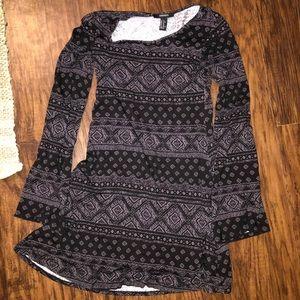 Grey and black print flare sleeve dress